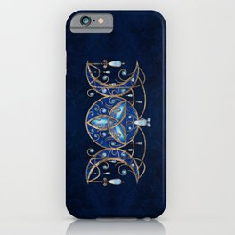 Triquetra Triple Moon Ornament with Moonstone iPhone Case