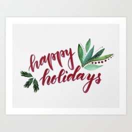 Happy Holidays - red and green Art Print