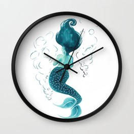 teal mermaid Wall Clock