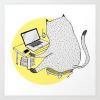 mac Art Prints featuring Mac Cat by Diana Hope