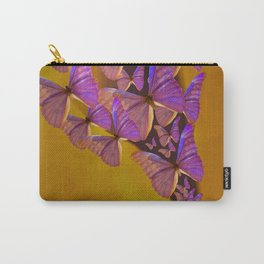 Shiny Purple Butterflies On A Ocher Color Background #decor #society6 Carry-All Pouch