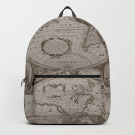 Antique Brown Map Backpack