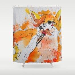 Red fox and fox cub Shower Curtain