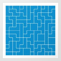 White Tetris Pattern on Blue Art Print