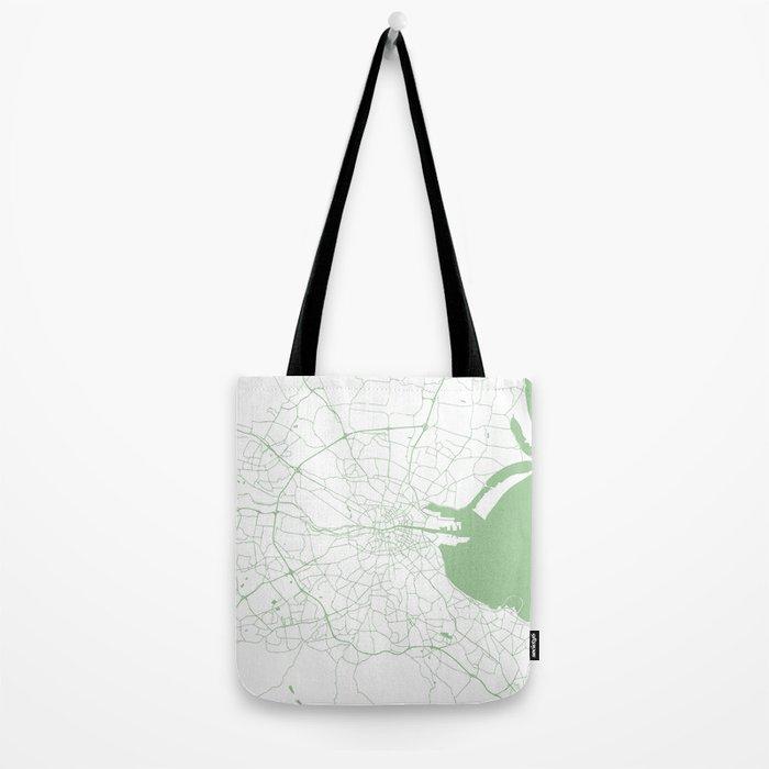 White on Green Dublin Street Map Tote Bag