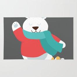 Polar Bear Go Skiing for Merry Christmas Rug