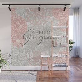 Hello Gorgeous, Floral Chic Pattern, Pink and Gray Wall Mural
