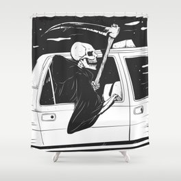 Passenger taxi grim - black and white - gothic reaper Shower Curtain