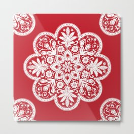 Floral Doily Pattern | Red and White Metal Print
