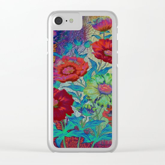 floral old tile Clear iPhone Case