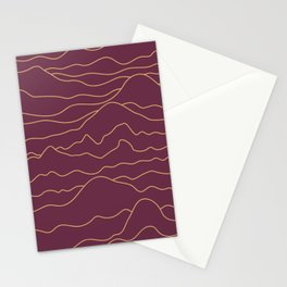 Mountains Lines Plum Stationery Cards