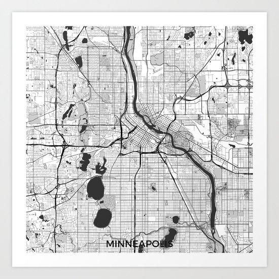 Minneapolis Map Gray Art Print