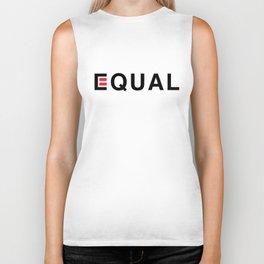 Equal - Black on White Biker Tank
