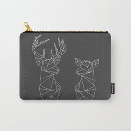 Geometric Stag and Doe (White on Grey) Carry-All Pouch