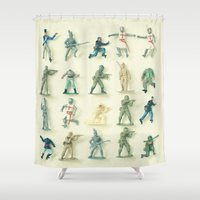 army Shower Curtains featuring Broken Army by Cassia Beck