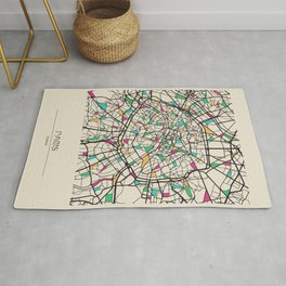 Colorful City Maps: Paris, France Rug