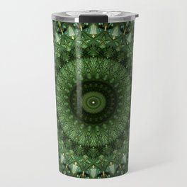 Mandala in olive green tones Travel Mug
