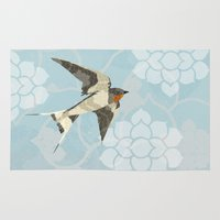 swallow Area & Throw Rugs featuring Swallow by Lorri Leigh Art