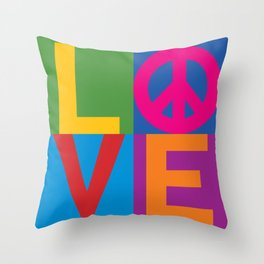 Love Peace Color Blocked Throw Pillow