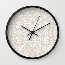 Imperial French Lace Beige White Pastel Wall Clock