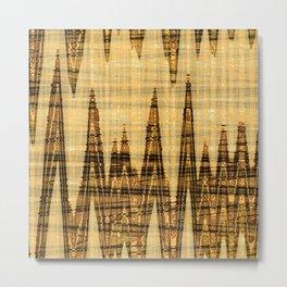 Wavy golden abstract Metal Print