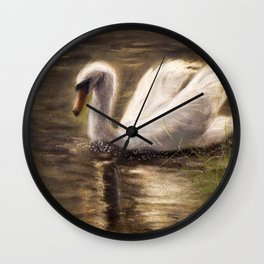 White Swan Painting Wall Clock