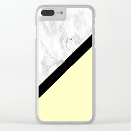 Black and White Marble w/Yellow Clear iPhone Case