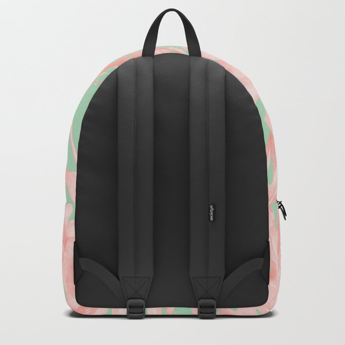 Tropical Palm Leaves Hibiscus Pink Mint Green Backpack