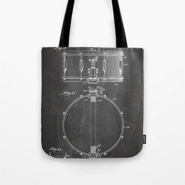 Snare Drum Patent - Drummer Art - Black Chalkboard Tote Bag