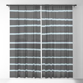 VA Healing Aire Blue - Angelic Blue - Soothing Blue Hand Drawn Horizontal Lines on Black Sheer Curtain