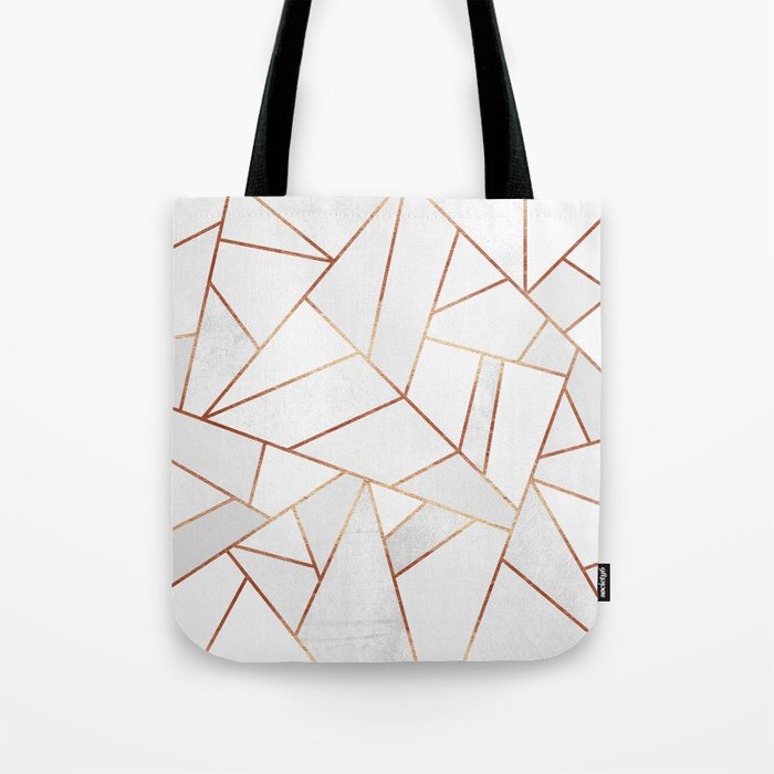 White Stone & Copper Lines Tote Bag