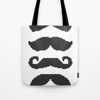 moustache Tote Bags featuring Moustache by Jake  Williams