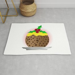 Christmas Pudding With Custard And Holly Sprig Rug