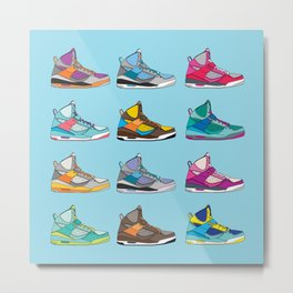 Colorful Sneaker set illustration blue illustration original pop art graphic print Metal Print