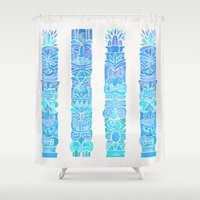 tiki Shower Curtains featuring Tiki Totems – Turquoise Palette by Cat Coquillette