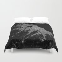 poland Duvet Covers featuring Warsaw map poland by Line Line Lines