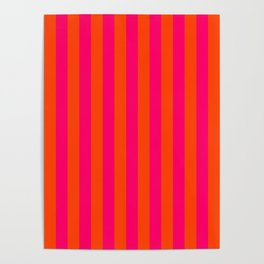 Super Bright Neon Pink and Orange Vertical Beach Hut Stripes Poster