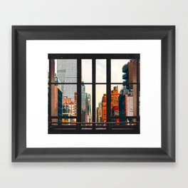 New York City Window #2-Surreal View Collage Framed Art Print