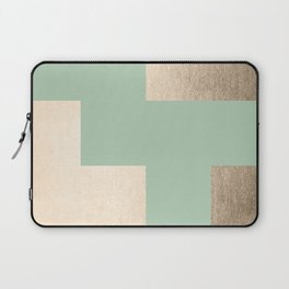 Simply Geometric White Gold Sands on Pastel Cactus Green Laptop Sleeve