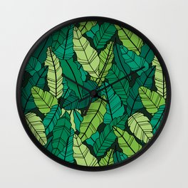 Green leaves line artwork Wall Clock