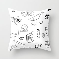 creepy cute witchy pattern Throw Pillow