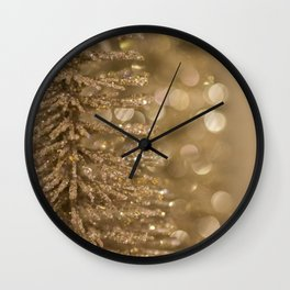 Golden Christmas Gliter Tree Decoration Wall Clock