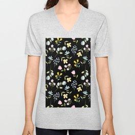 Colorful Tiny Floral - Black background Unisex V-Neck