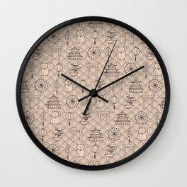 Retro asian pattern Wall Clock