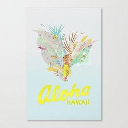 Aloha, Hawaii (Blue) Canvas Print