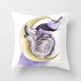 Crescent Howl Throw Pillow