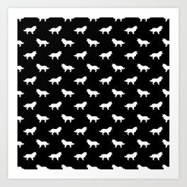 Border Collie black and white minimal silhouette dog silhouettes dog breeds pattern Art Print