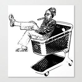 Grandma Shopping Cart Surfer Canvas Print