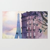 paris Area & Throw Rugs featuring Paris by Emma Reznikova