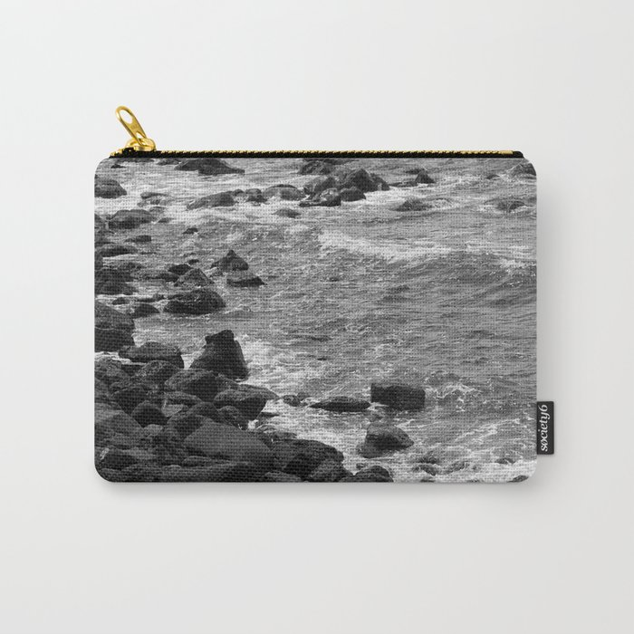 Rocky coastline, Black and White Carry-All Pouch